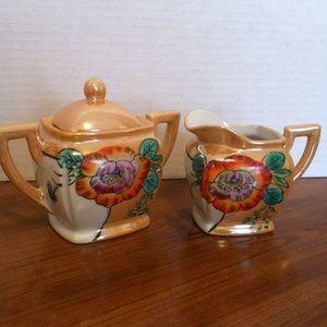 Other - Vintage Peach Lusterware Cream and Sugar Set Japan